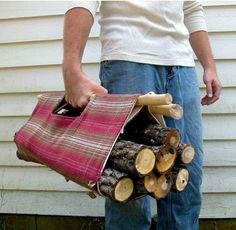 Handmade firewood tote