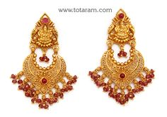 Chandbali Earrings - Temple Jewellery - Gold 'Lakshmi' Drop Earrings - - Indian Jewelry from Totaram Jewelers Indian Gold Jewellery Design, Gold Temple Jewellery, Indian Jewelry, Jewelry Design, Gold Earrings Designs, Gold Drop Earrings, Women's Earrings, Jhumka Designs, Coral Jewelry