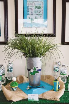 Grass centerpiece for golf party