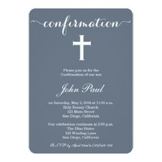 Modern Elegant Cross Confirmation Invitation - elegant gifts gift ideas custom presents