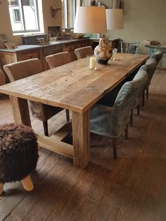 Farmhouse Dining Room Table, Diy Dining Table, Barn Table, Wood Table, Outdoor Wood Furniture, Kitchen Furniture, Diy Esstisch, Mesa Exterior, Woodworking Furniture Plans