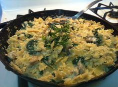 Chicken, Spinach and Mushroom Farfalle. This is a homemade Ricotta, lemon cream sauce anyone can do. So rich and comforting and so fresh!