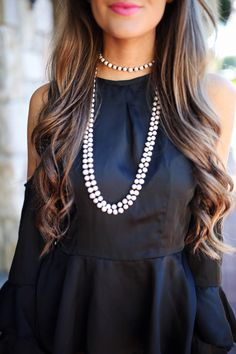 Carolee cultured freshwater pearl necklace  // ASOS cold shoulder top, similar here   similar faux leather leggings  // Sam ...