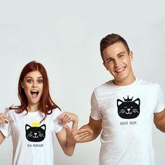 T-shirt couple - Son roi Sa reine Chat - MyRoxXe T-shirt Couple, Couple Tshirts, Sons, T Shirt, Couples, Women, Fashion, Couple Clothes, Matching Clothes
