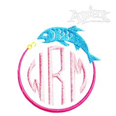 """Fishing Pack Monogram Embroidery Design Frame. You Get 4 Fish designs each with 3 size each 12 designs total. Fish Frame fits all our 1"""" , 2"""" and 3"""" circle fonts sets."""