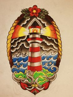 Tattoos Ideas For Tattoo Traditional Lighthouse Lights Traditional Lighthouse Tattoo, Traditional Tattoo Art, Traditional Flash, Leg Tattoos, Body Art Tattoos, Sleeve Tattoos, Sailor Tattoos, Trendy Tattoos, Tattoos For Guys