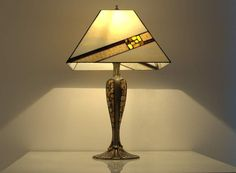 Table lamp  12x12 shade hand made of stained by AmberGlassArt,