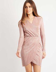MILDRED – Metallic Wrap Dress Pink