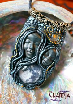 Moon Goddess Fullmoon Sisters Pendant-goddess pendant moon magic moon worship lunar jewelry twins gothic polymer jewelry pagan wiccan witch