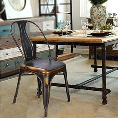 Adeco Metal Stacking Dining Chairs, Vintage Barstool,Black Bronze,set of 2