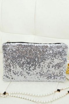 Noble Sliver Sequined Rectange Clutch Bag