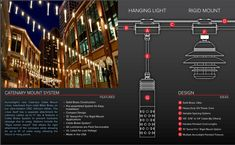 Features of Auroralight's Catenary Mount System. • Solid Brass Construction • Pre-assembled System for Easy Installation • Compact Design • 15° Swivel-Pro™ For Rigid Mount Applications • Cable Brake System™ • All Luminaires are Field Serviceable • UL Listed for Low Voltage • Made in the USA