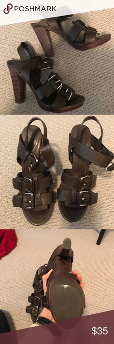 Theory high heeled sandals. High heeled, leather, brown, sandals with silver buckets. Worn maybe 2 times for weddings, they look like new. Theory brand. Heel is about 4 inches. Theory Shoes Heels
