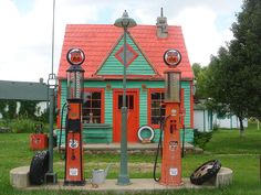 Philipps 66 gas station (Larry and I own this) Restorations will need to include: Broken and missing neon, faded and peeling paint, water damage on wooden siding, rotten windows and trim boards...it will need lots of TLC...watch for the final outcome after all the new restorations are complete...