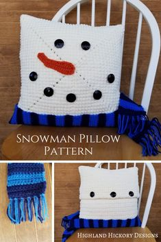 Crochet the Snowman Pillow with this free and easy pattern! This 16 x 16 pillow cover will look great all winter long. Crochet Christmas Decorations, Christmas Crochet Patterns, Crochet Blanket Patterns, Crochet Stitches, Crochet Snowflakes, Crochet Ornaments, Crochet Blocks, Afghan Patterns, Square Patterns
