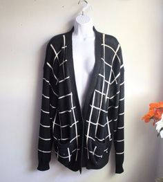 Vintage 90's Striped Oversized Medium Knit Buttoned Cardigan Size L  | eBay