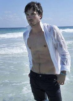 Ian Somerhalder in Wet Long Sleeve Top