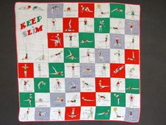 1950s Keep Slim Handkerchief by Carol Stanley - Work Out Routines Novelty Hanky - Exercise Yoga Hankie - Aerobics Trainer - Fitness Moves