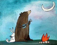Campfire Bear Camping Woodland Animals Kids Art Print Wall Nursery Decor on Etsy, $12.50