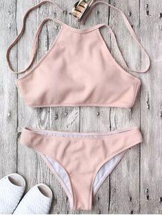 Ribbed Textured High Neck Bikini Set - PINK S