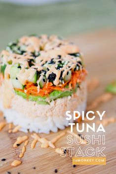 Spicy Tuna Sushi Stack recipe with a video on how to stack it. An awesome lunch idea.
