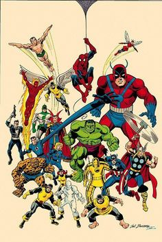 Here is the Marvel Legacy: The Handbook cover by Sal Buscema. This gave me a good insight in to what marvel characters i should be looking at Comic Book Artists, Comic Book Characters, Marvel Characters, Comic Character, Comic Books Art, Comic Art, Marvel Comics Art, Marvel Heroes, Marvel Avengers