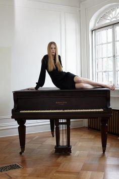 #black, #dress, #girl, #piano