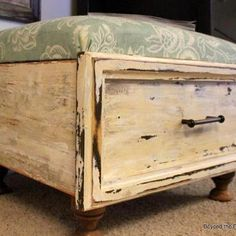 Dresser drawer ottoman #diy #tutorial #upcycle #furniture #seat #chair #storage #organize #distressed #shabby chic #home #decor