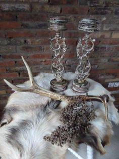Kandelaars decoratie sierlijk ijzer, retro en brocante look stijl woonkamer