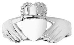 Claddagh Rings High Polish 925 Sterling Silver Claddagh Ring (Size 8.5)