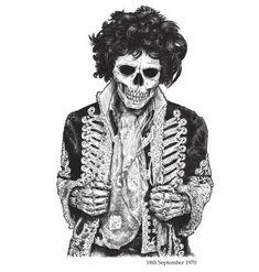Famous Dead Jimi Hendrix pic on Design You Trust Jimi Hendrix, Dessin Old School, Rock Poster, Bd Comics, Skull And Bones, Skull Art, Dark Art, Rock N Roll, Bunt