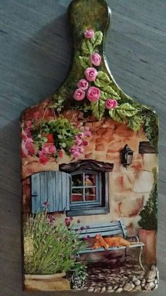 another example of the delightful detail to a miniature handmade world. Looking at these creations, I'm always taken back to my interests prior Decoupage Vintage, Decoupage Art, Tole Painting, Painting On Wood, Painting Pictures, Garden Painting, Pintura Tole, Hobbies And Crafts, Arts And Crafts