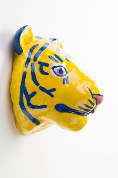 Ceramic Tiger Wall Hanging by lorienstern on Etsy