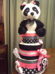 Panda bear diaper cake by handcraftedgiftsgal on Etsy
