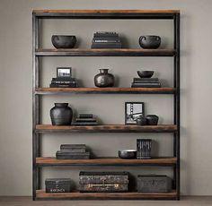 biblioteca de metal y madera reciclada rh baires