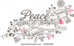 peace floral graphic print - stock vector