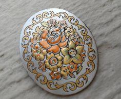 Vintage Damascene Pendant. Reed & Barton. 24K Gold, Silver, Copper, Bronze. Floral Pattern. by TreeTownPaper on Etsy