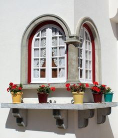 by Rosangela Garcia - Portas e Janelas, Portugal. [flower pot on windowsill]