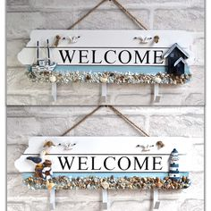 Craft Stick Crafts, Crafts To Make, Wood Crafts, Seashell Crafts, Beach Crafts, Beach Condo Decor, Wooden Welcome Signs, Condo Decorating, Decoupage Art