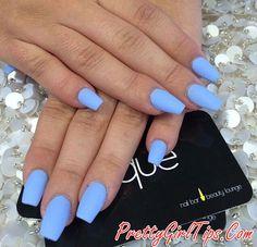 @prettygirltips Blue Matte Nails