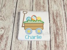 Fun Easter Egg Wagon Appliqued Shirt by MaddyBelleBoutique