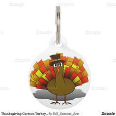 #Thanksgiving Cartoon Turkey #Pilgrim Pet Tag by #Fall_Seasons_Best #Zazzle #Gravityx9 -