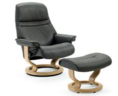 Stressless Sunrise (s) Leather Recliner W/ Matching Ottoman