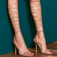 Amped up Suede Lace up Heel