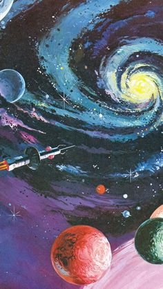 Illustration galaxy sci-fi space art space painting vintage art space wars fact and fiction Trippy Wallpaper, Free Phone Wallpaper, Aesthetic Iphone Wallpaper, Aesthetic Wallpapers, Wallpaper Art, Nature Wallpaper, Vintage Phone Wallpaper, Galaxy Phone Wallpaper, Wallpaper Lockscreen
