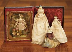 """""""For the Love of the Ladies"""" - October 1-2, 2016 in Phoenix, AZ: 330 Quartet of Early Miniature Grodnertal Wooden Dolls"""