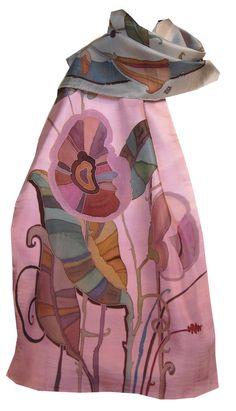 Bufanda de seda pintado a mano de flores de lavanda Duet en rosa y gris plata.  Regalo para Ella.  Francés Serti Seda técnica de la pintura.  Seda Natural.
