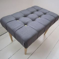 Grey button back #footstool