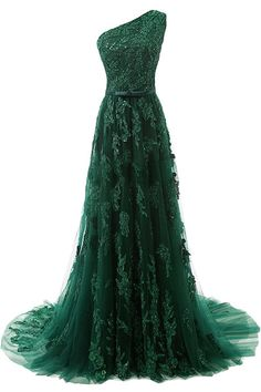 Women's A-line One-shoulder Long Lace Applique Prom Dress