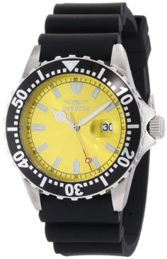 Men's Wrist Watches - Invicta Mens 10918 Pro Diver Yellow Dial Black Polyurethane Watch -- Click on the image for additional details.